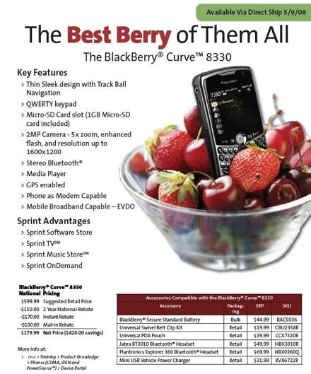 Sprint Blackberry Curve Available Tomorrow