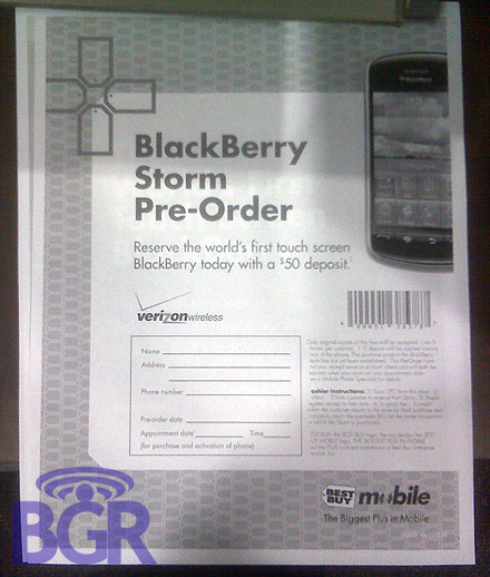 Best Buy Taking Pre-orders for BlackBerry Storm