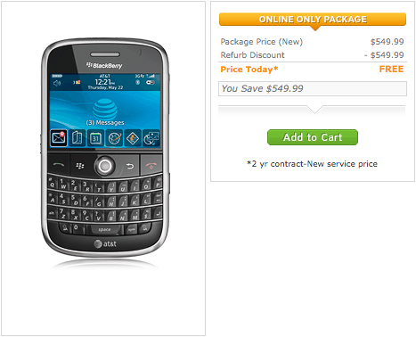 freebold AT&T giving away free refurbished BlackBerry Bolds