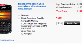 Verizon to sell camera-less BlackBerry Tour