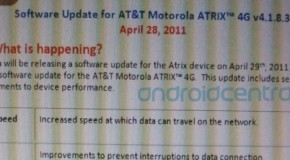 Motorola Atrix 4G update may come tomorrow