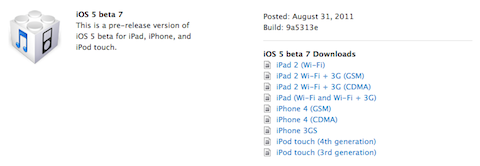 iOS5 Beta 71 Apple releases iOS 5 Beta 7 to developers