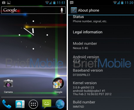Nexus S ICS Android 4.0 leaks for Nexus S 4G