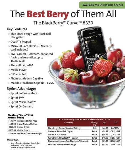 Sprint Blackberry Curve Available Tomorrow