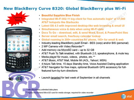 AT&T Launching BlackBerry Curve 8320 with Wi-Fi