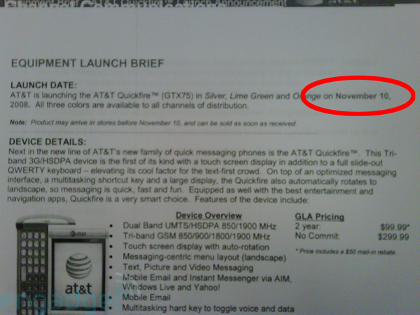 AT&T Launching QuickFire on November 10