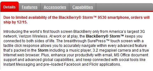 BlackBerry Storm Now Delayed Until December 15th