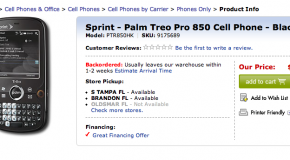Sprint Palm Treo Pro up on Best Buy website; many stores in-stock