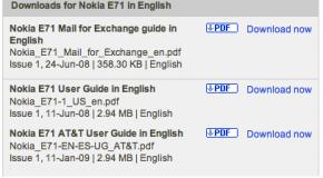 Nokia releases AT&T Nokia E71x manual