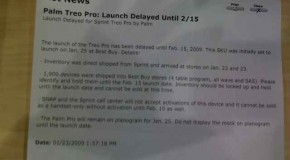 Sprint Treo Pro delayed until February 15th