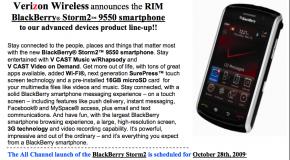 BlackBerry Storm2 launching October 28th on Verizon