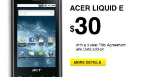 Fido launches Acer Liquid E