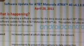 Motorola Atrix 4G update may come tomorrow